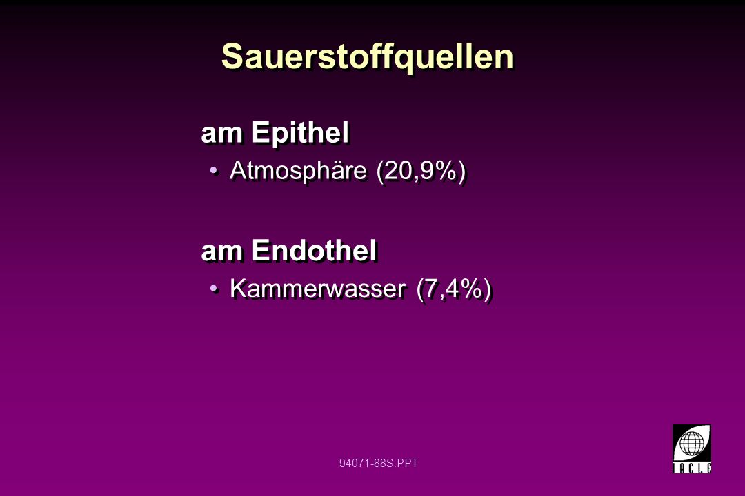 Sauerstoffquellen am Epithel am Endothel Atmosphäre (20,9%)