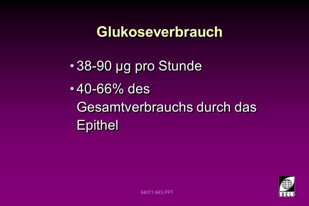 Glukoseverbrauch 38-90 µg pro Stunde