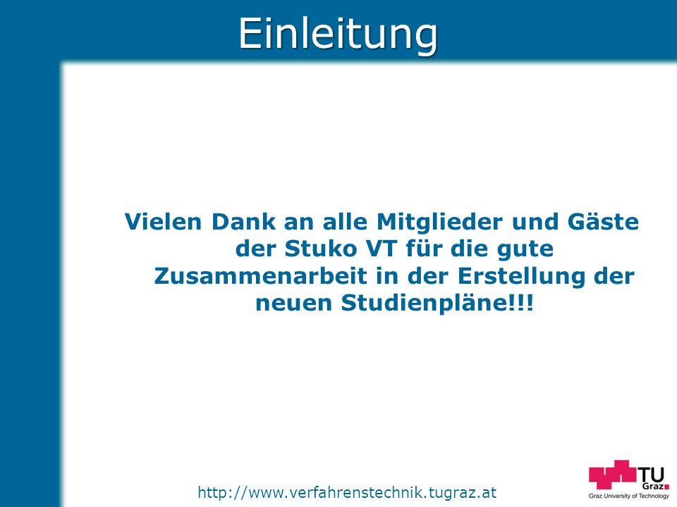 Einleitung Vielen Dank an alle Mitglieder und Gäste der Stuko VT für die gute Zusammenarbeit in der Erstellung der neuen Studienpläne!!!