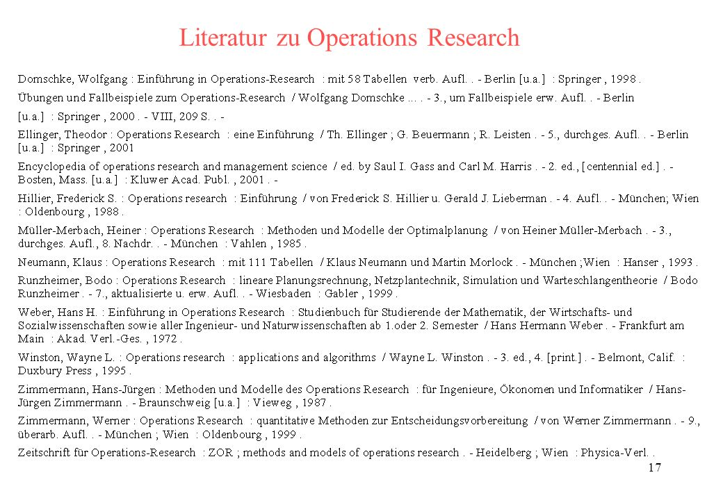 Literatur zu Operations Research