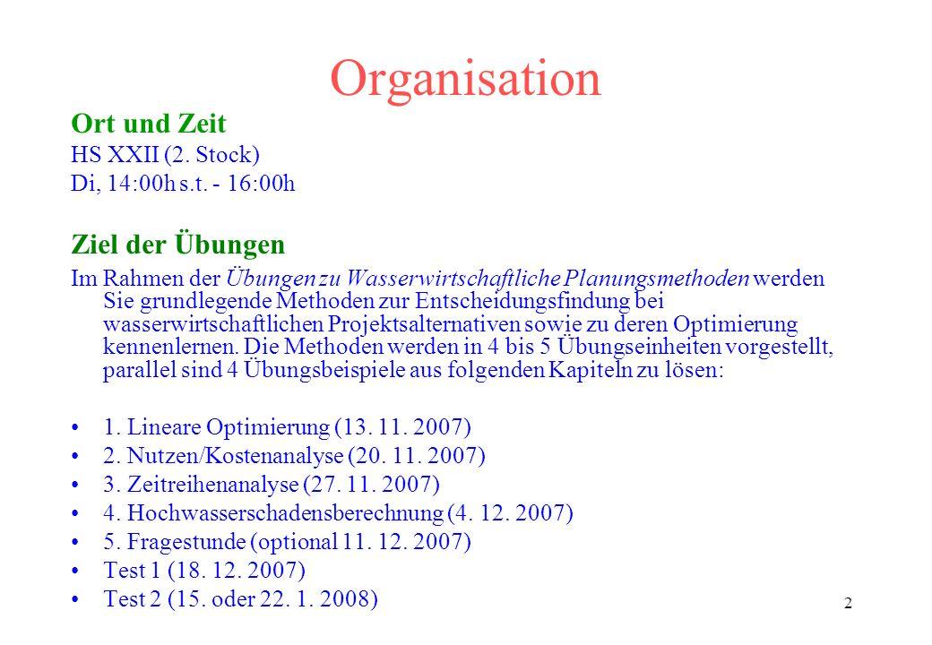 Organisation Ort und Zeit HS XXII (2. Stock) Di, 14:00h s.t. - 16:00h