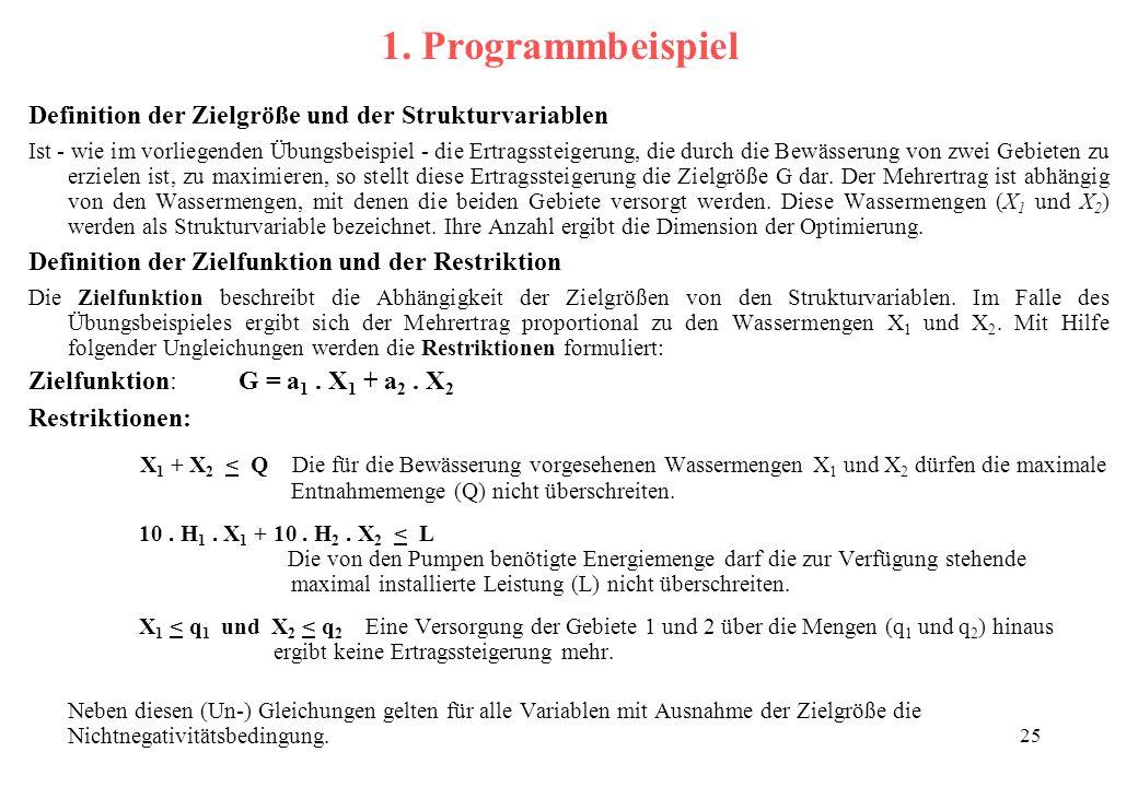 1. Programmbeispiel Definition der Zielgröße und der Strukturvariablen