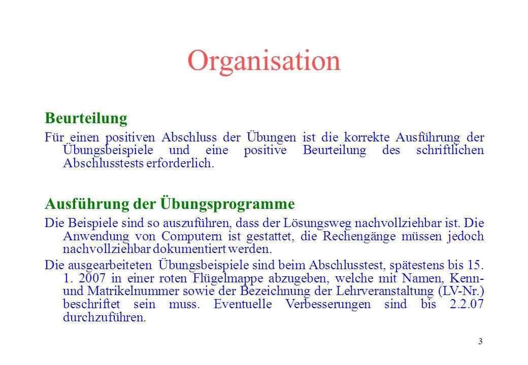 Organisation Beurteilung Ausführung der Übungsprogramme