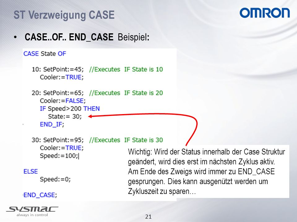 ST Verzweigung CASE CASE..OF.. END_CASE Beispiel: