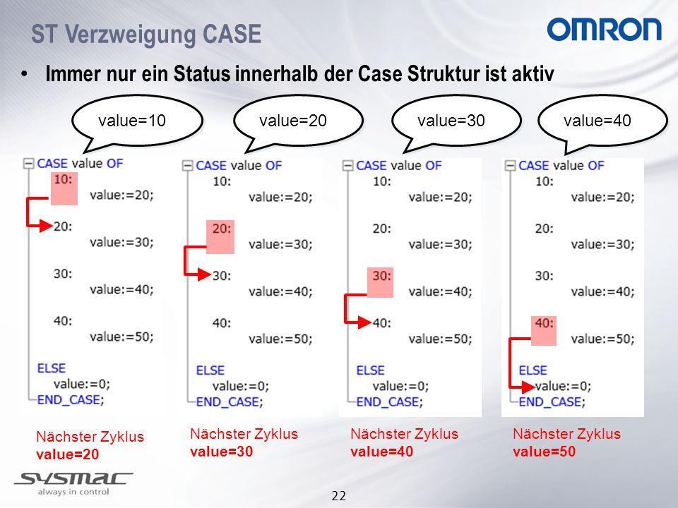 ST Verzweigung CASE Immer nur ein Status innerhalb der Case Struktur ist aktiv. value=10. value=20.