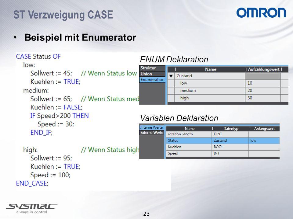 ST Verzweigung CASE Beispiel mit Enumerator ENUM Deklaration