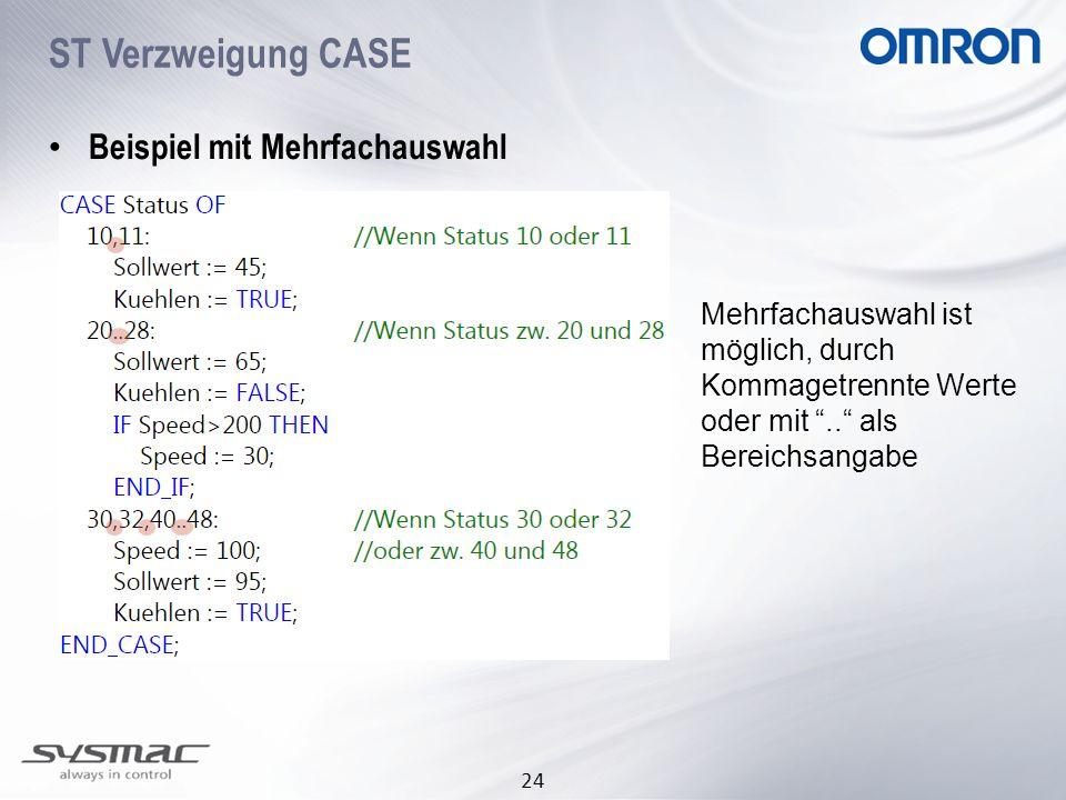 ST Verzweigung CASE Beispiel mit Mehrfachauswahl