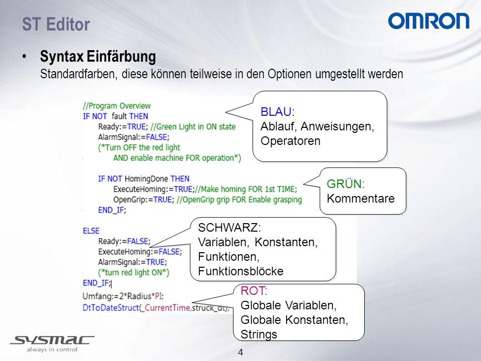 ST Editor Syntax Einfärbung Standardfarben, diese können teilweise in den Optionen umgestellt werden.