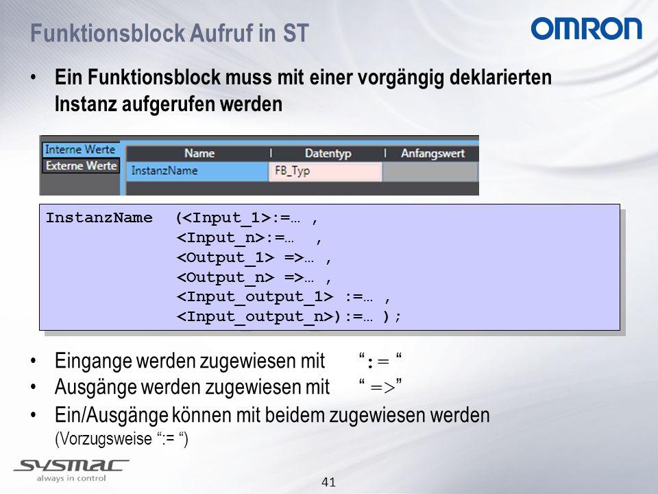 Funktionsblock Aufruf in ST
