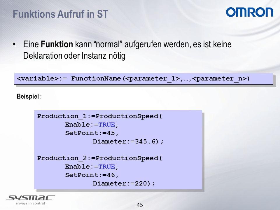 Funktions Aufruf in ST Eine Funktion kann normal aufgerufen werden, es ist keine Deklaration oder Instanz nötig.
