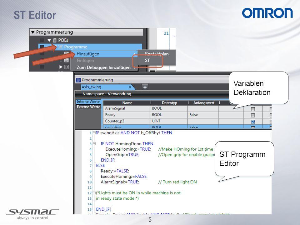 ST Editor Variablen Deklaration ST Programm Editor