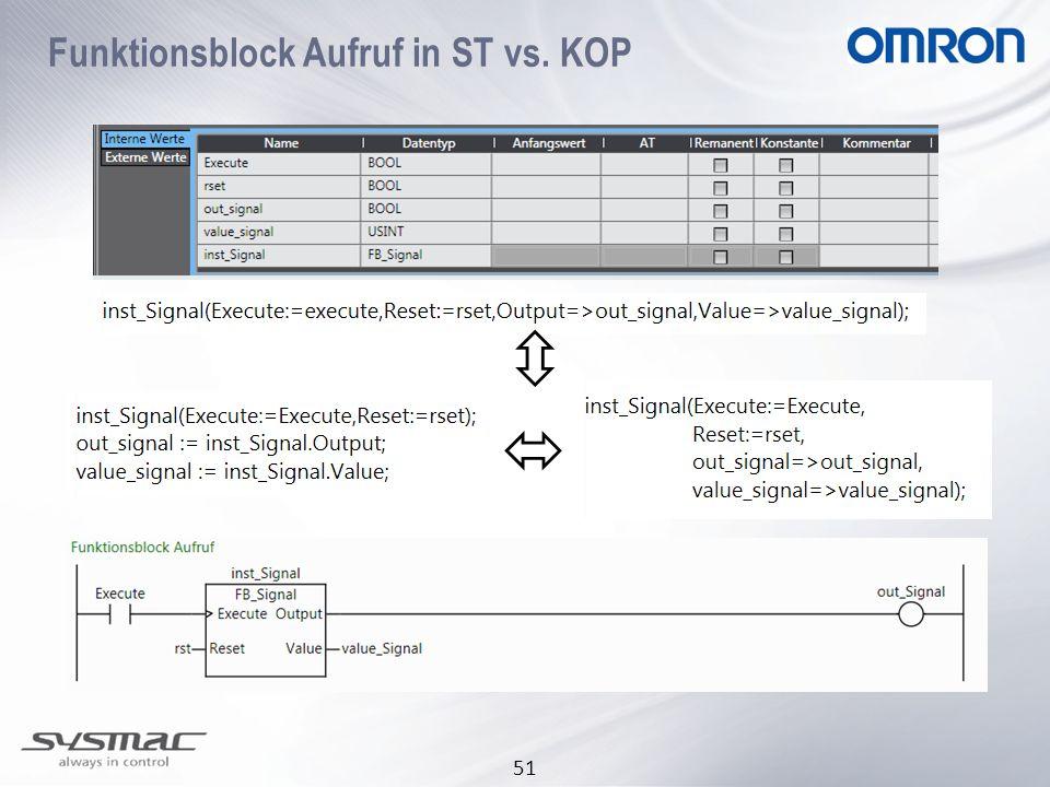 Funktionsblock Aufruf in ST vs. KOP