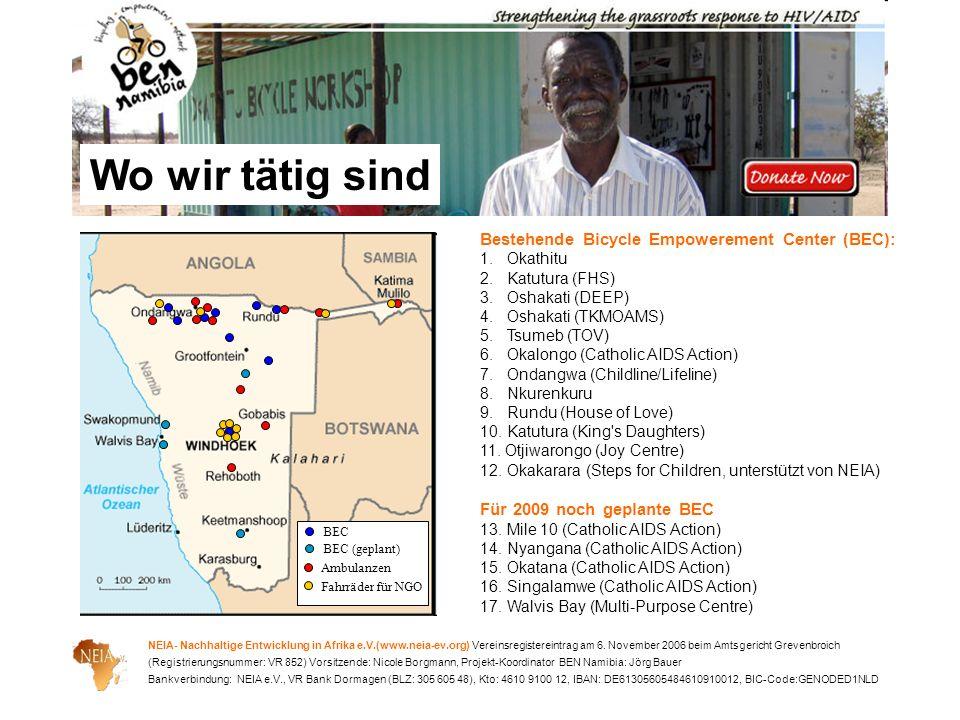 Wo wir tätig sind Bestehende Bicycle Empowerement Center (BEC):