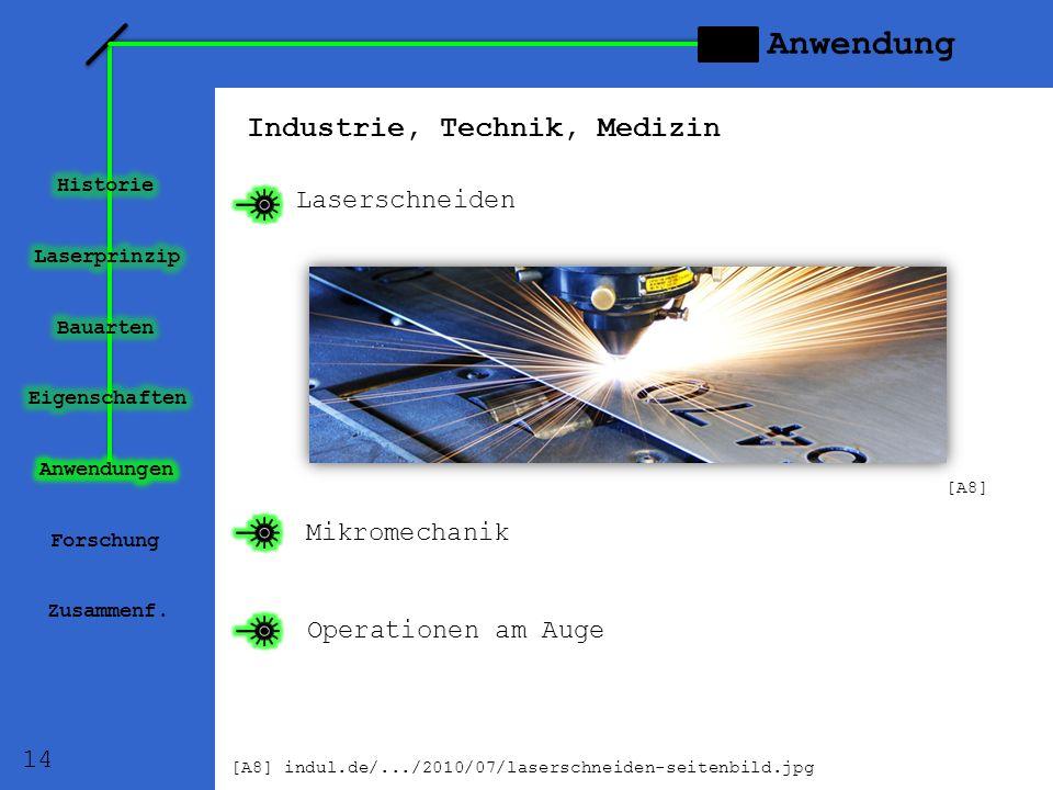 Anwendung Industrie, Technik, Medizin Laserschneiden Mikromechanik