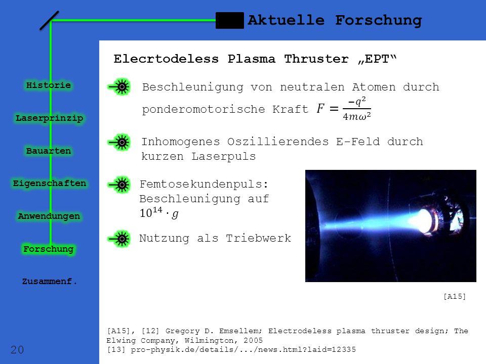 "Aktuelle Forschung Elecrtodeless Plasma Thruster ""EPT"