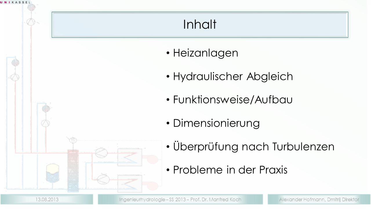 Inhalt Heizanlagen Hydraulischer Abgleich Funktionsweise/Aufbau