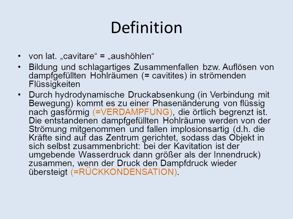 """Definition von lat. """"cavitare = """"aushöhlen"""