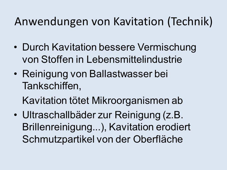 Anwendungen von Kavitation (Technik)
