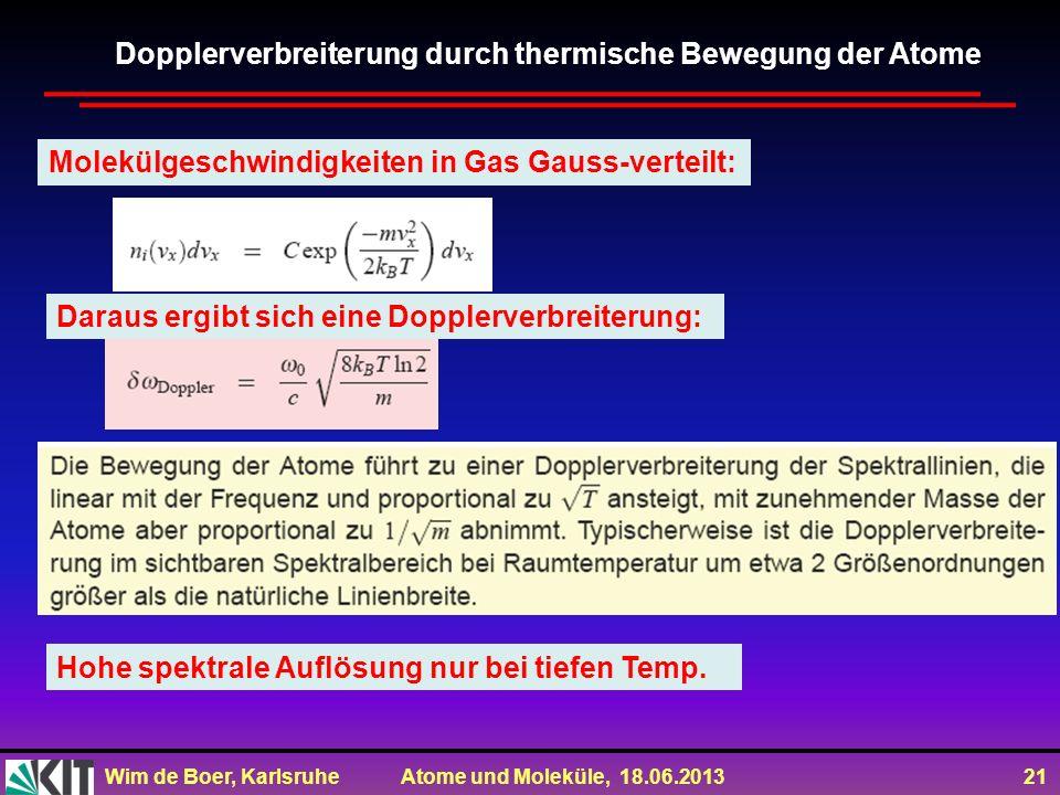 Dopplerverbreiterung durch thermische Bewegung der Atome