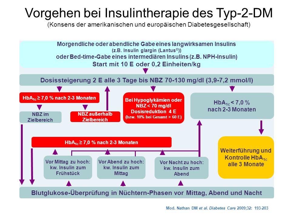 Vorgehen bei Insulintherapie des Typ-2-DM (Konsens der amerikanischen und europäischen Diabetesgesellschaft)