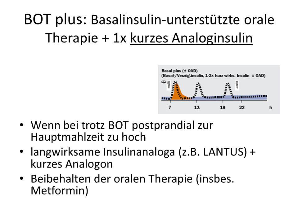 BOT plus: Basalinsulin-unterstützte orale Therapie + 1x kurzes Analoginsulin