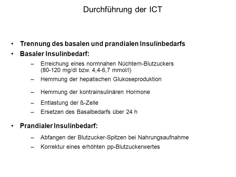 Durchführung der ICT Trennung des basalen und prandialen Insulinbedarfs. Basaler Insulinbedarf: