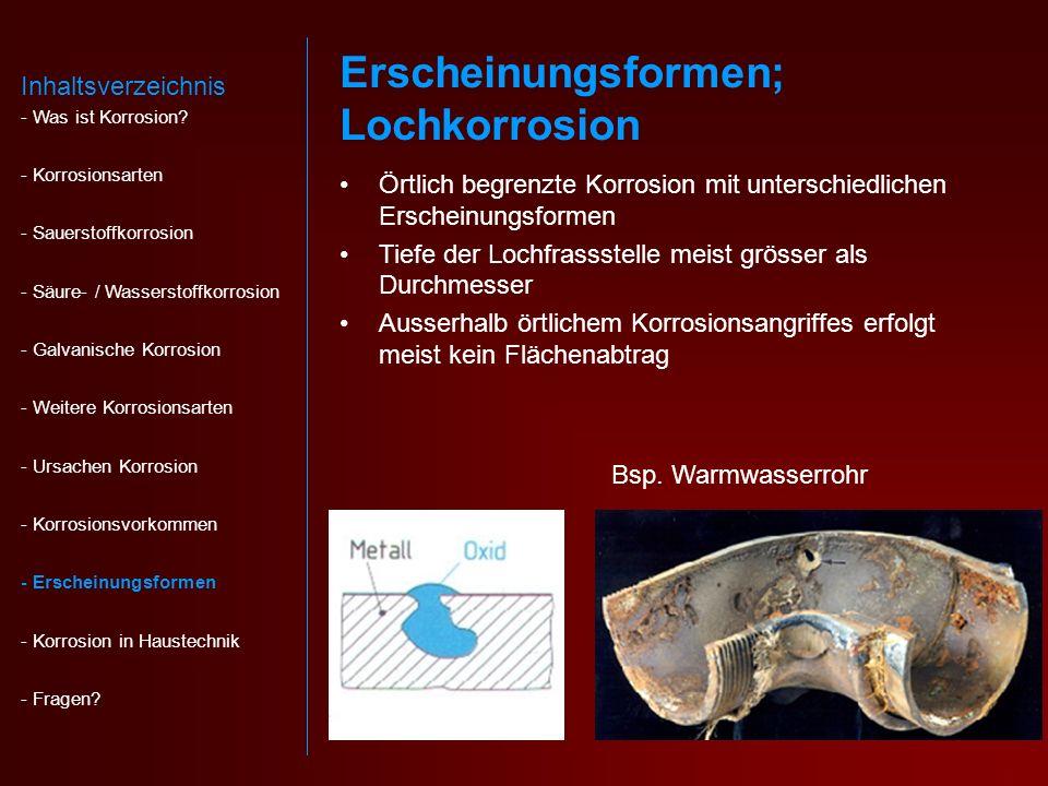 Erscheinungsformen; Lochkorrosion