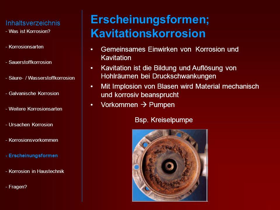 Erscheinungsformen; Kavitationskorrosion