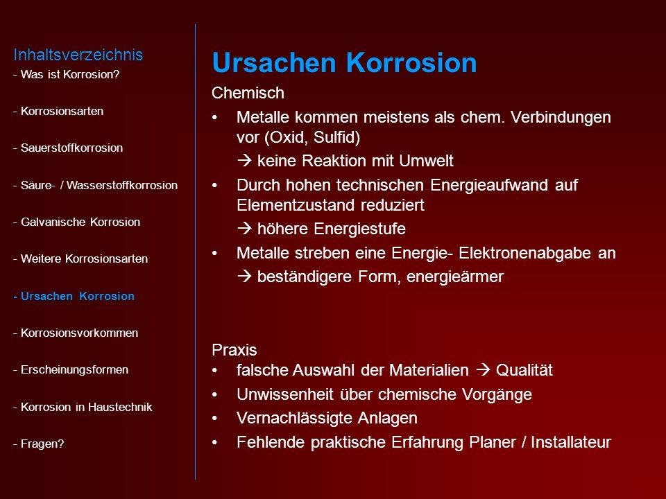 Ursachen Korrosion Inhaltsverzeichnis Chemisch