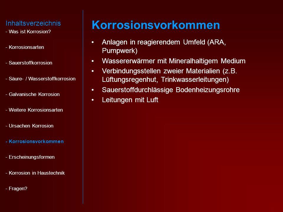 Korrosionsvorkommen Inhaltsverzeichnis