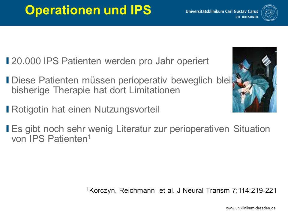 Operationen und IPS 20.000 IPS Patienten werden pro Jahr operiert