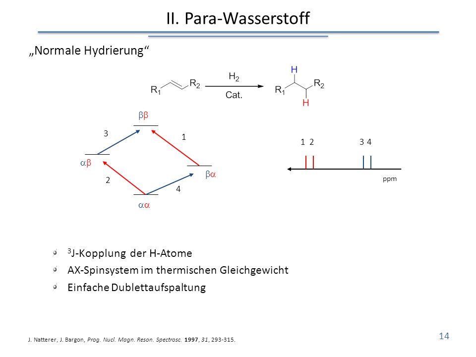 """II. Para-Wasserstoff """"Normale Hydrierung 3J-Kopplung der H-Atome"""