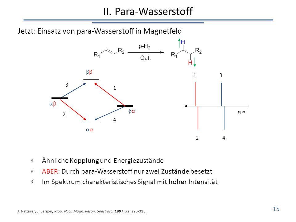 II. Para-Wasserstoff Jetzt: Einsatz von para-Wasserstoff in Magnetfeld