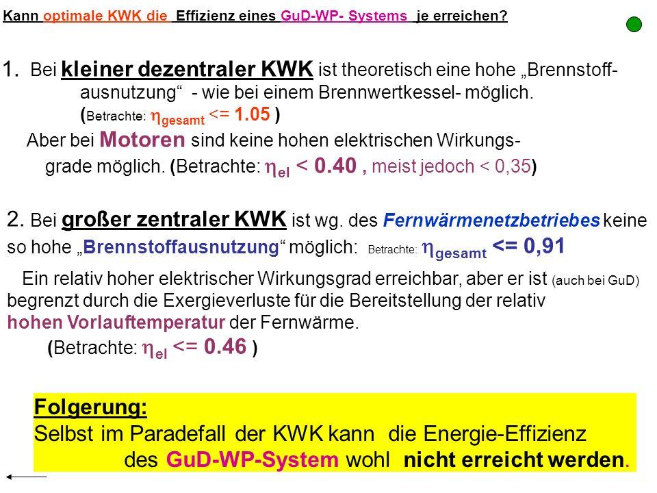 Kann optimale KWK die Effizienz eines GuD-WP- Systems je erreichen