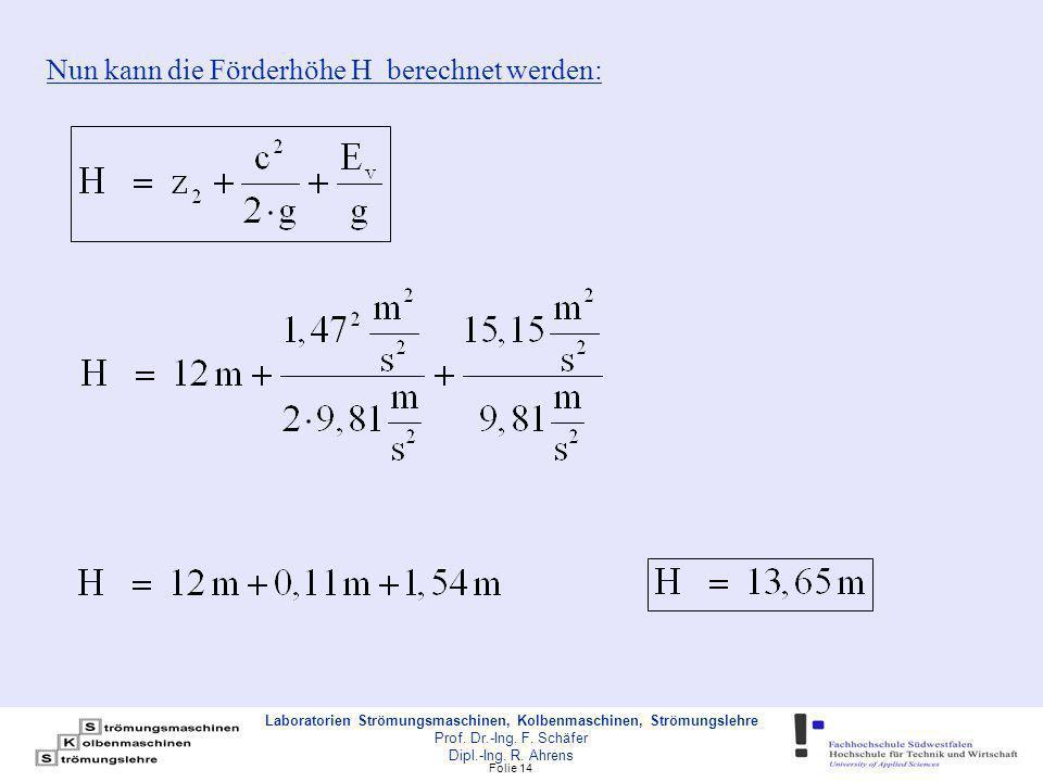 Nun kann die Förderhöhe H berechnet werden: