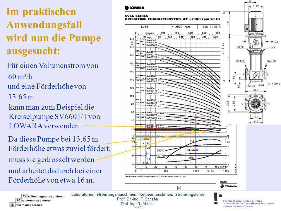 Im praktischen Anwendungsfall wird nun die Pumpe ausgesucht: