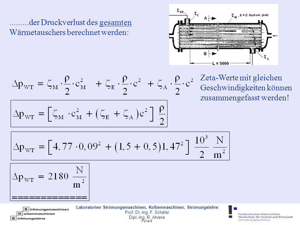 .........der Druckverlust des gesamten Wärmetauschers berechnet werden:
