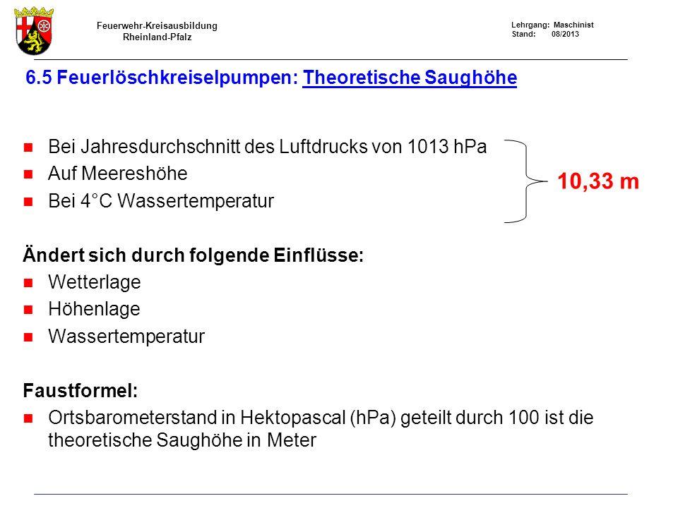 6.5 Feuerlöschkreiselpumpen: Theoretische Saughöhe