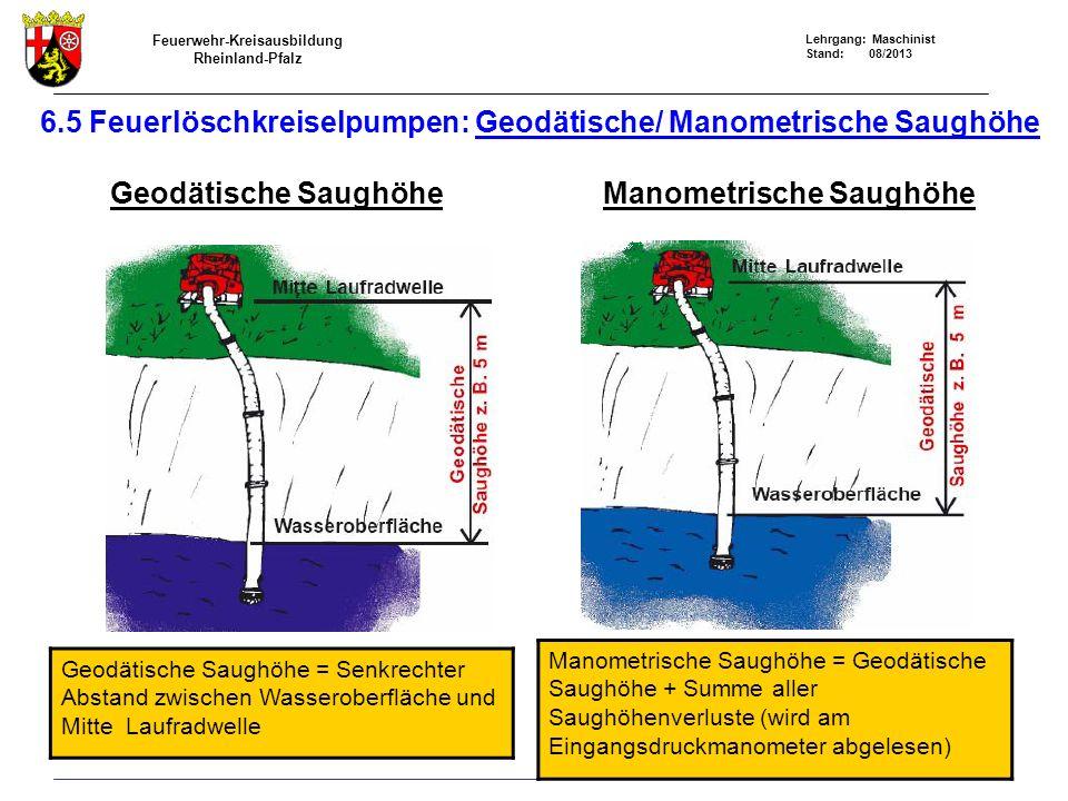 6.5 Feuerlöschkreiselpumpen: Geodätische/ Manometrische Saughöhe