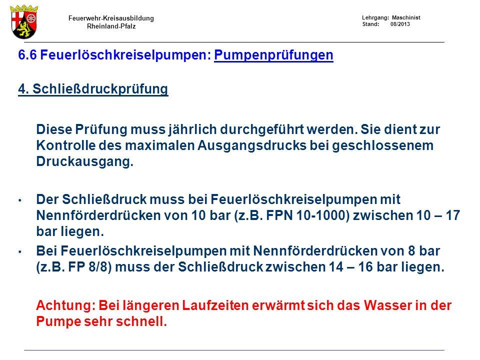 6.6 Feuerlöschkreiselpumpen: Pumpenprüfungen