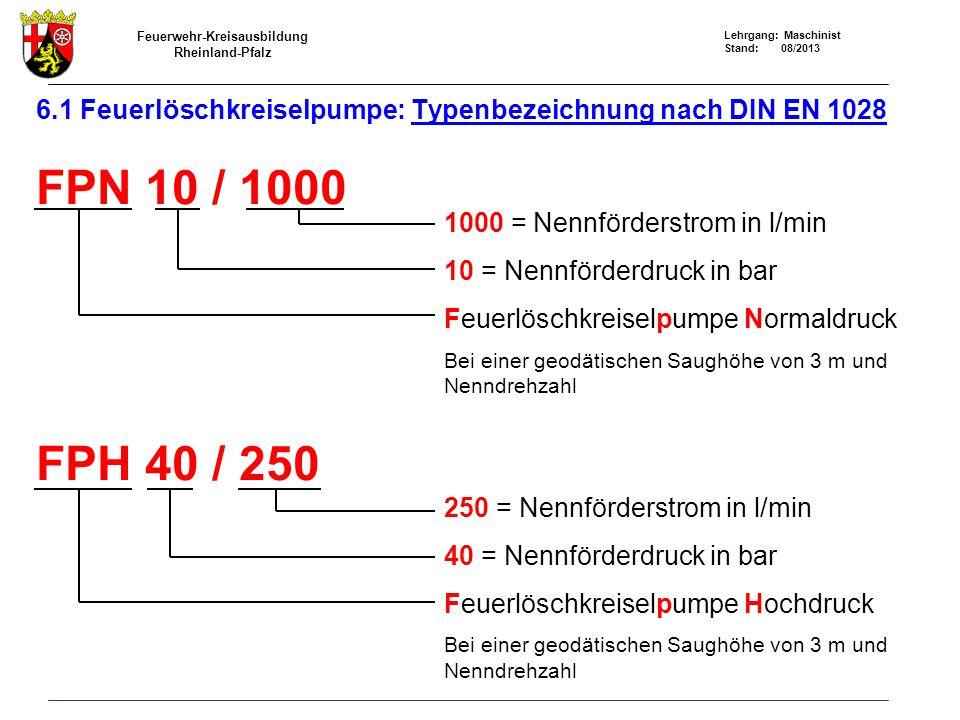 6.1 Feuerlöschkreiselpumpe: Typenbezeichnung nach DIN EN 1028