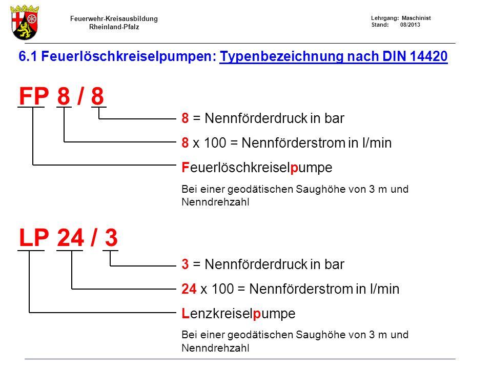 6.1 Feuerlöschkreiselpumpen: Typenbezeichnung nach DIN 14420