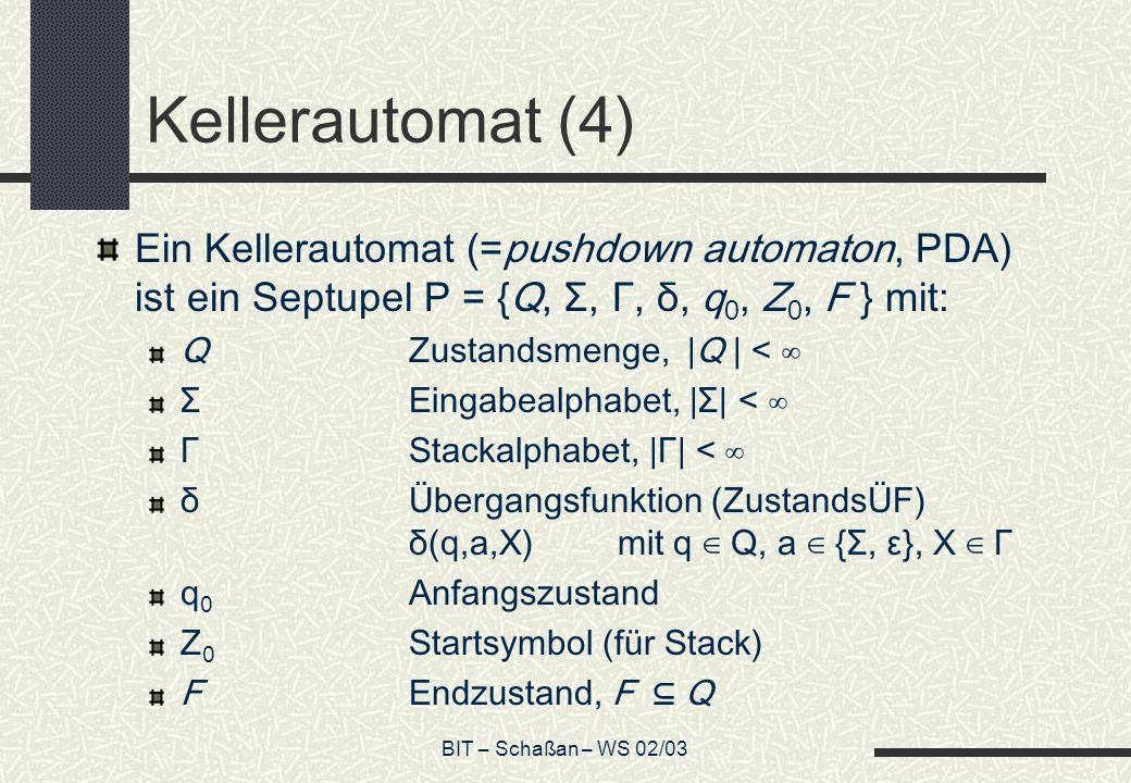 Kellerautomat (4) Ein Kellerautomat (=pushdown automaton, PDA) ist ein Septupel P = {Q, Σ, Γ, δ, q0, Z0, F } mit: