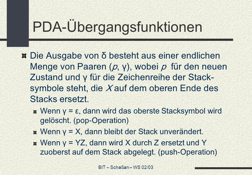 PDA-Übergangsfunktionen