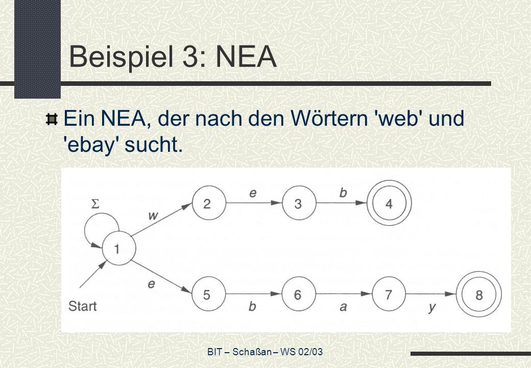 Beispiel 3: NEA Ein NEA, der nach den Wörtern web und ebay sucht.