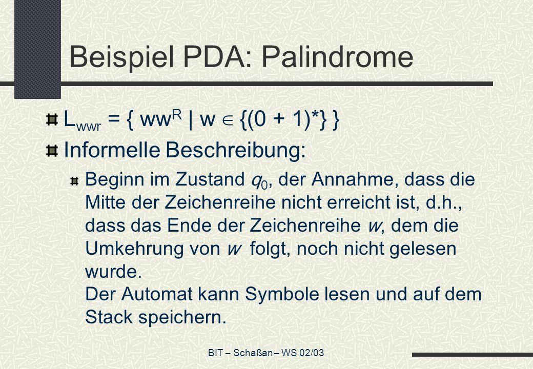 Beispiel PDA: Palindrome
