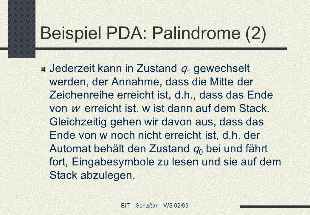 Beispiel PDA: Palindrome (2)