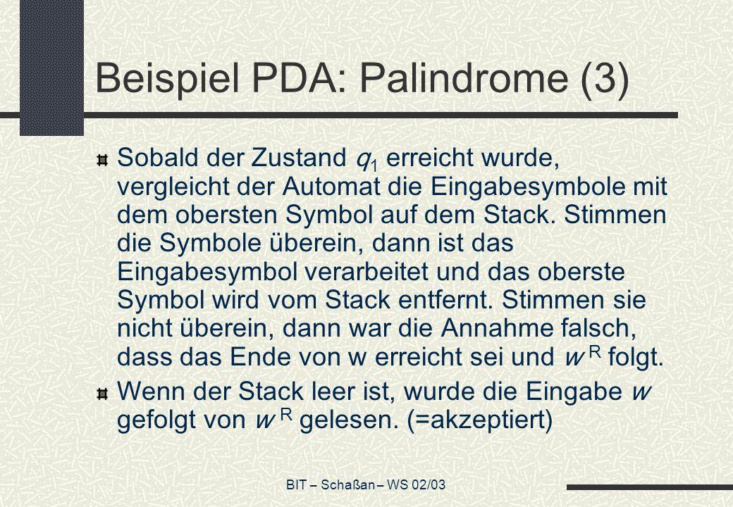 Beispiel PDA: Palindrome (3)