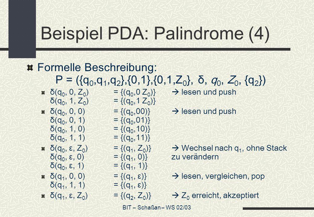Beispiel PDA: Palindrome (4)