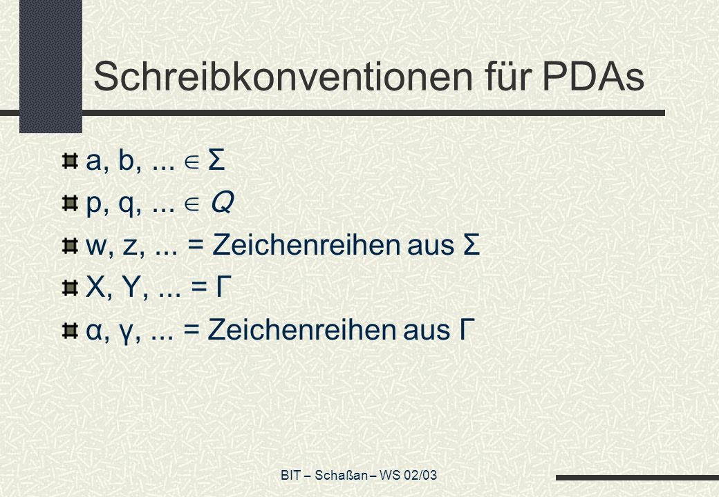 Schreibkonventionen für PDAs